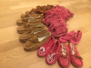 Minnetonka kids shoes and fringe boots for Sale in Chicago, IL