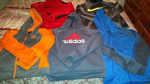 2 NIKE,( 1 therma fit ) , ( 1 dry fit) hoodies. Size XL , TG , EG. 3 Adidas hoodies. Size XL for Sale in Macon, GA