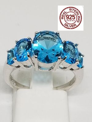 Genuine 925 Sterling Silver Aquamarine 5 stone rings for Sale in St. Louis, MO