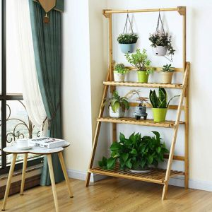 (Free Delivery) 3 Tiers Bamboo Hanging Folding Plant Shelf Stand for Sale in Las Vegas, NV