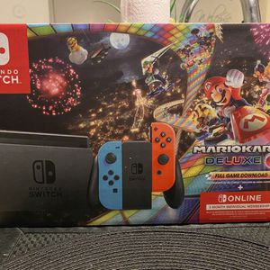 Nintendo Switch™ w/ Neon Blue & Neon Red Joy-Con™ + Mario Kart™ 8 Deluxe (Full Game Download) + 3 Month Nintendo Switch Online Individual Membership for Sale in Vienna, VA