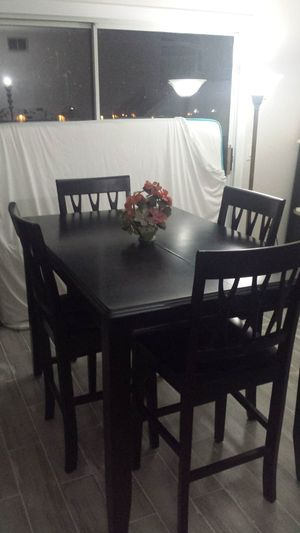 """Dining Table High(36"""") & 4 High Chairs(25"""") Solid Wood From """"Ashley Furnitre"""" W/ Extention(18"""")Attached Under The Table 53""""×36"""" Like New for Sale in Industry, CA"""
