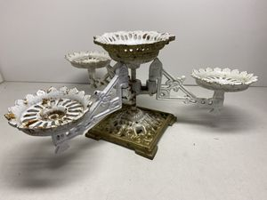 Antique White Cast Iron Swing Arm Plant Stand Holder Victorian Centerpiece Orig for Sale in Glendora, CA