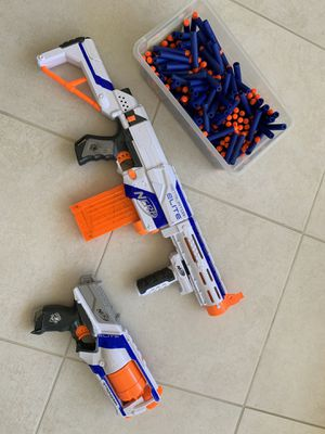 2 NERF GUNS Retaliator Elite and StrongArm Elite Plus 195 Bullets! for Sale in Hialeah, FL