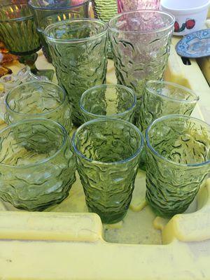 7 green vintage glasses for Sale in Fresno, CA
