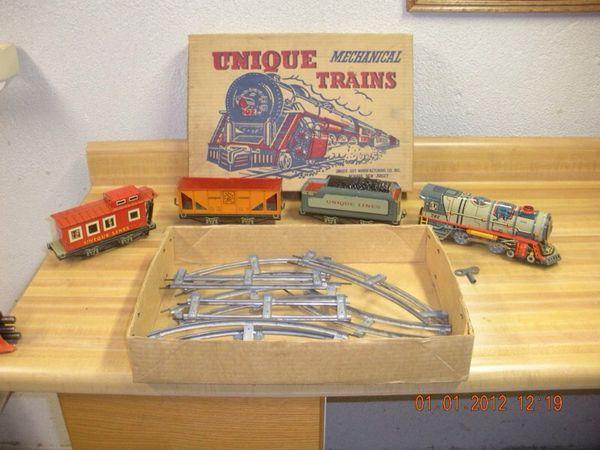 Unique antique mechanical toy train