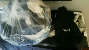 Big bag of baby boy clothes with infantimo baby carrier for Sale in Adelphi, MD