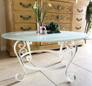 Frosted Glass and Metal Indoor Outdoor Coffee Table for Sale in Las Vegas, NV