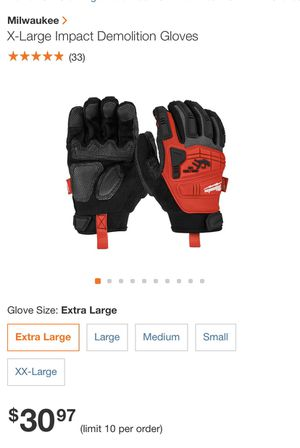 Milwaukee impact demolition gloves XL for Sale in Loomis, CA