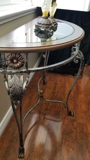 DEMILUNE METAL-WOOD- GLASS- CONSOLE/ENTRY WAY- TABLE IN GREAT CONDITION! for Sale in Rancho Cucamonga, CA
