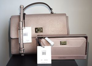 Calvin Klein matching bag and wallet in rose gold for Sale in Arlington, VA