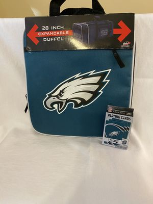 Philadelphia Eagles duffle bag and playing cards for Sale in Bartlett, TN