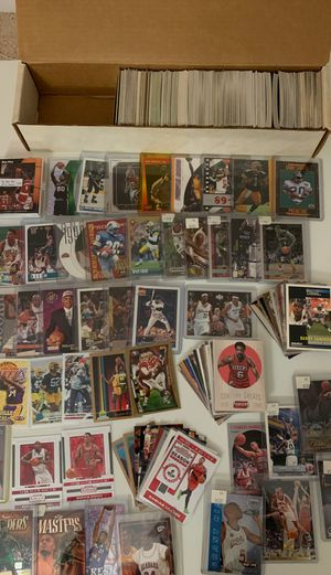 Big box filled with sports cards many Star players jordan Kobe Lebron basketball baseball all football for Sale in Fairfax, VA