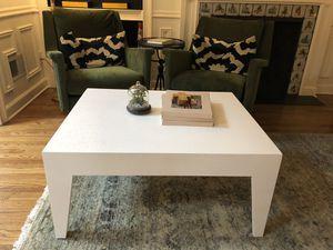 Vintage white grass cloth coffee table for Sale in Atlanta, GA