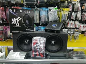 """Hifonics 12"""" Subs, Box, Amp, Wires and Install $229 for Sale in Houston, TX"""