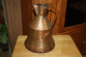 Large Antique Hand Hammered Copper Pitcher Vase with Copper Handle for Sale in Garland, TX