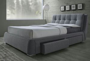 Grey upholstered queen bed for Sale in Union City, GA