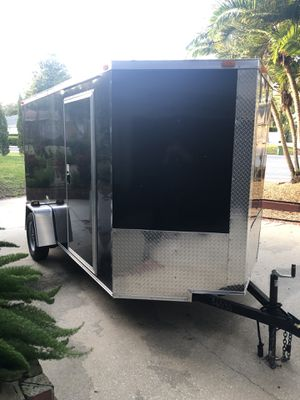 Brand New Enclosed V Nose Trailer 6'x12' Black Never Used! for Sale in Belle Isle, FL