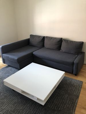 IKEA Grey Couch + white coffee table for Sale in Boston, MA