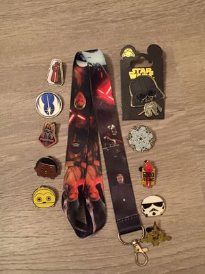 Star Wars lanyard with 10 Tradable Disney Pins for Sale in Orlando, FL