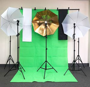 (NEW) $80 Photo Set Studio Kit w/ Backdrop Stand, 3x Muslin Cloth, 3x Umbrella Lighting and Bulbs for Sale in Whittier, CA