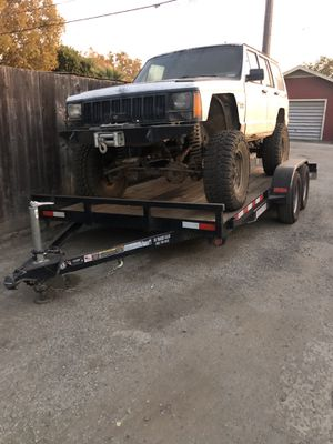 14 foot car trailer and jeep Cherokee for sale or trade for Sale in Hollister, CA