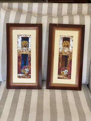 Set of two oil painting with wooden frame for Sale in Miami, FL