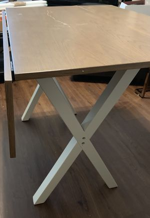 Solid Wood Drop Leaf Folding Kitchen Dining or Console Table or desk Rustic Oak Top, 2 flaps and White Legs for Sale in Dallas, TX