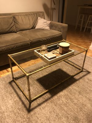 Gold and glass coffee table for Sale in Jersey City, NJ