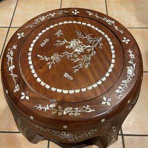 Antique Solid Chinese Rosewood Stool Chair With Inlay Mother If Pearl Oyster for Sale in Westminster, CA