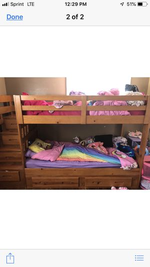 Kids hardwood bunk bed with storage for Sale in Southgate, MI