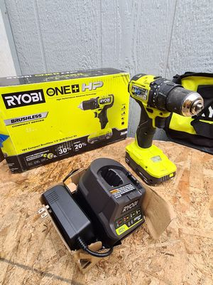 Ryobi ONE+ HP 18V Brushless Cordless Compact 1/2 in. Drill/Driver Kit with (1) 1.5 Ah Battery, Charger and Bag for Sale in Snohomish, WA