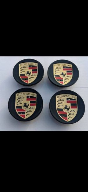 Black Porsche caps wheel rim center Cap 76mm 3 inch diameter BRAND NEW SET OF 4 gloss black color for Sale in HUNTINGTN BCH, CA
