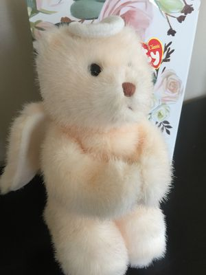 Qaulity TY Teddy Bear Praying Ivory furry with tags wings attached sweet little Bear non smoke for Sale in Northfield, OH
