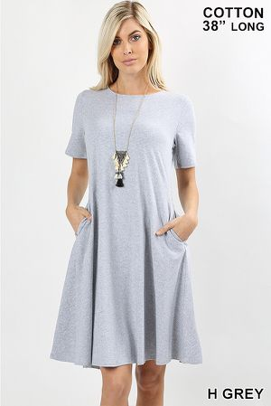 PREMIUM COTTON SHORT SLEEVE CLASSIC A-LINE DRESS WITH SIDE POCKETS for Sale in Durham, NC