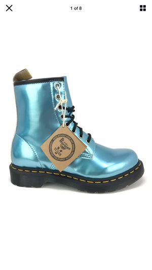 Dr. Martens Women's 1460 Vegan Blue Metallic Goldmix Ankle Combat Boots 25279 size 7 for Sale in Pasadena, CA