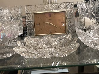 Glass Candle Holders 3 Candy Dishes A Clock for Sale in Lynn,  MA