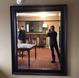 Huge Large Black Wall Hanging Mirror Framed Beveled Glass 2 Available! Excellent Condition! for Sale in Plainfield, IL