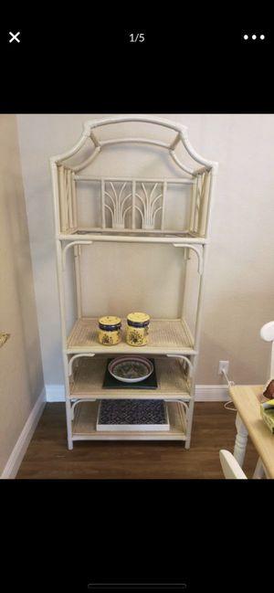 Etagere, Shelf, Bookcase - Wicker, Rattan, Off White- 3 Tier for Sale in Fort Lauderdale, FL