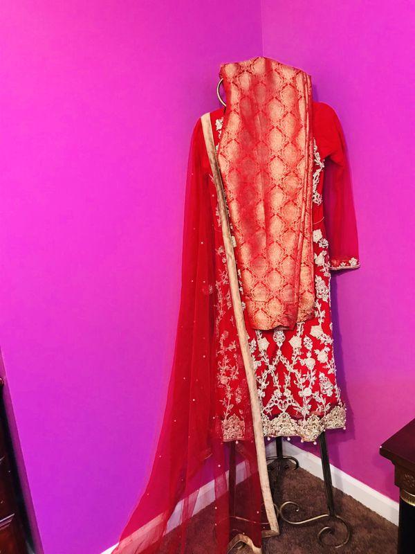 Sarwar Khan red party/wedding dress (3 piece)