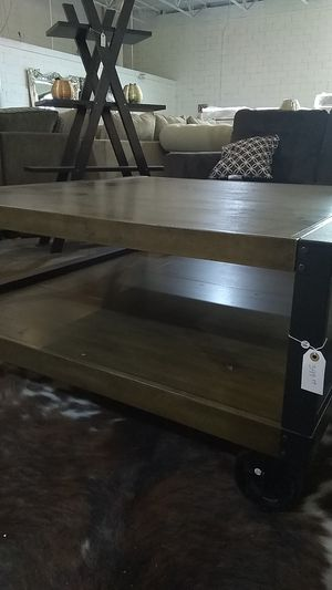 Heavy duty antique coffee table with wheels for Sale in Dallas, TX