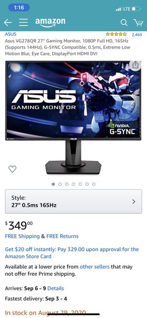Gaming monitor for Sale in Providence, RI
