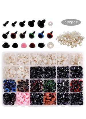 Safety Eyes and Noses with Washers 592pcs for Puppet Doll, Teddy Bear, Stuffed Animals, Crafts, Crochet Toy for Sale in ROWLAND HGHTS, CA