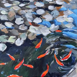 Japanese pond. Original 8x10 inches acrylic painting on wood panel 7/8 Ickes. Signed. for Sale in Los Angeles, CA
