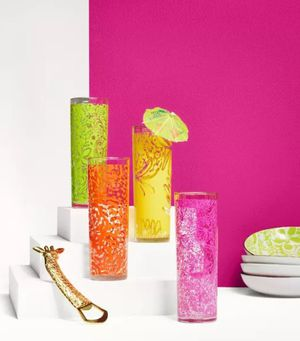 NEW Lilly Pulitzer for Target set of 4 Cocktail Glass Tumblers for Sale in West Palm Beach, FL