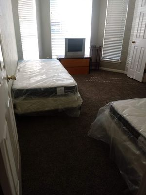 TWO Twin Size Mattresses w/ bed frame for Sale in Bevil Oaks, TX
