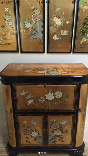 Antique Oriental wine cabinet with matching wall panels for Sale in Stuart, FL