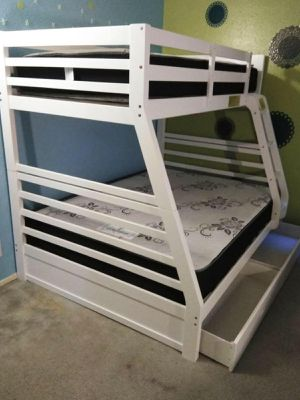 Twin/full withe bunkbed w. Orthopedic mattresses included for Sale in Los Angeles, CA