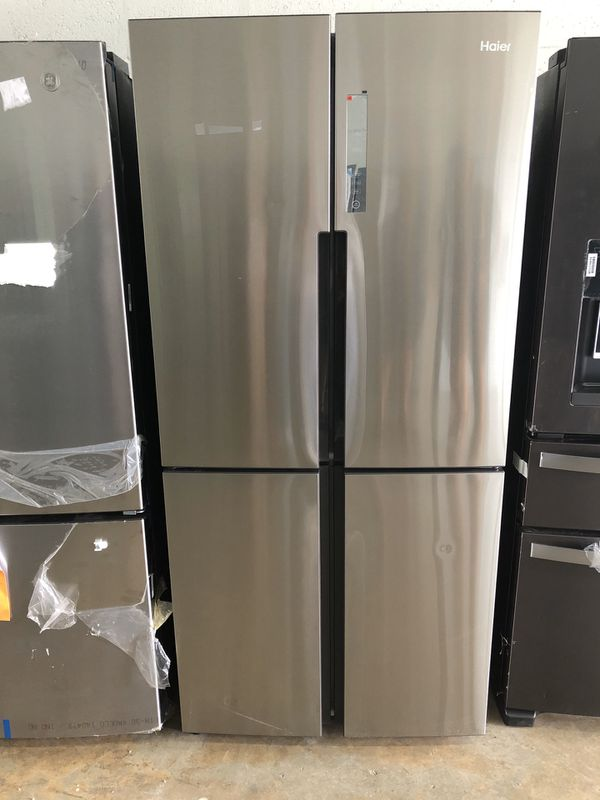 """haier 33"""" NEW Haier 16.4 cu. ft. Quad French Door Freezer Refrigerator in Stainless Steel"""