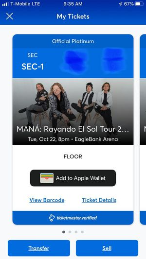 Mana Tickets section 1 for Sale in Alexandria, VA